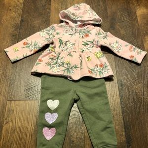 3/$20 Girls 18-24m Floral Hoodie Heart Joggers